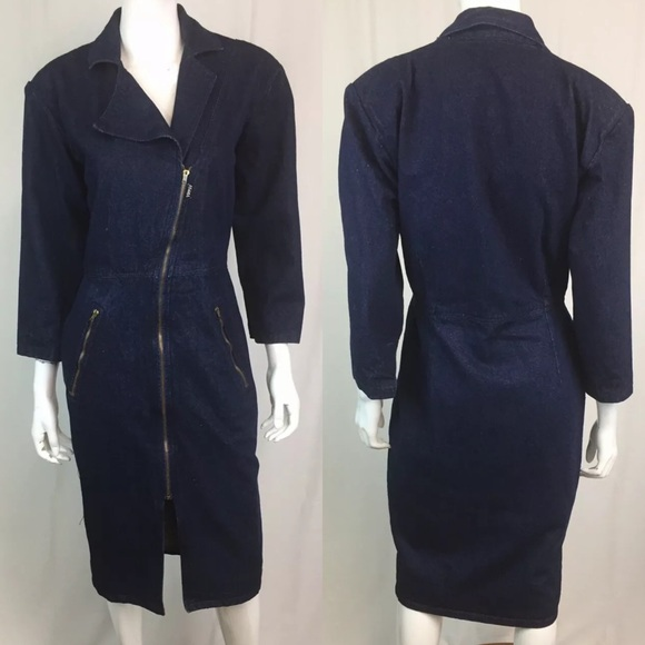 Vintage Dresses & Skirts - Vintage Denim Jean Asymmetric Zipper Shirt Dress